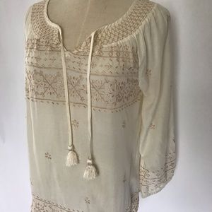 Lucky Brand Cream Embroidered Blouse, Size Small